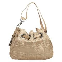 Dior Brown Nylon Cannage Bucket Bag