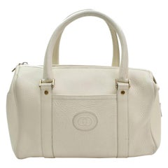 Gucci Boston Off-white Gg Interlocking Logo 868038 Ivory Leather Satchel