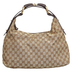 Gucci Brown GG Jacquard Horsebit Hobo Bag