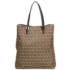 Fendi Brown Zucchino Jacquard Tote Bag