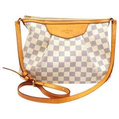 Louis Vuitton Siracusa Damier Azur Pm 234210 White Coated Canvas Cross Body Bag