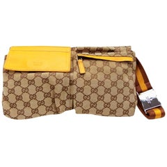 Gucci (Ultra Rare) Limited Fanny Pack Belt Waist Pouch 234209 Yellow Canvas Cros