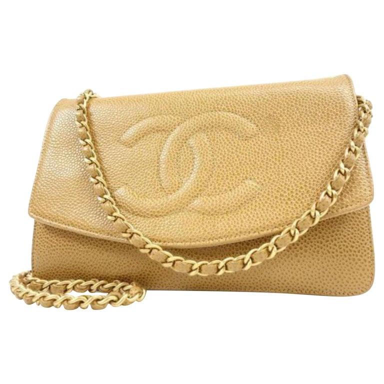 8f78632b9b22 Chanel Timeless Wallet on Chain Caviar Cc Flap 233989 Beige Leather Cross  Body B For Sale