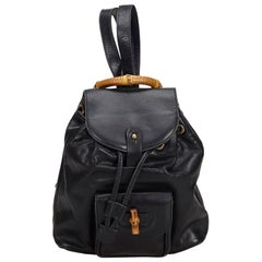 Gucci Black Bamboo Leather Drawstring Backpack