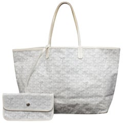 Goyard Chevron Goyardine St Louis with Pouch 234047 White Leather Tote