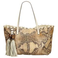 Gucci Brown Python Tote Bag