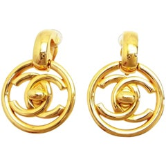 Chanel Gold (Ultra Rare) 97p Turn Lock Drop Dangle Earrings 234136