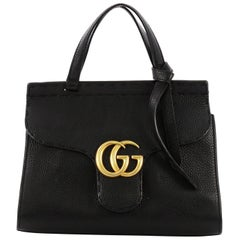 Gucci GG Marmont Animalier Top Handle Bag Leather Smal