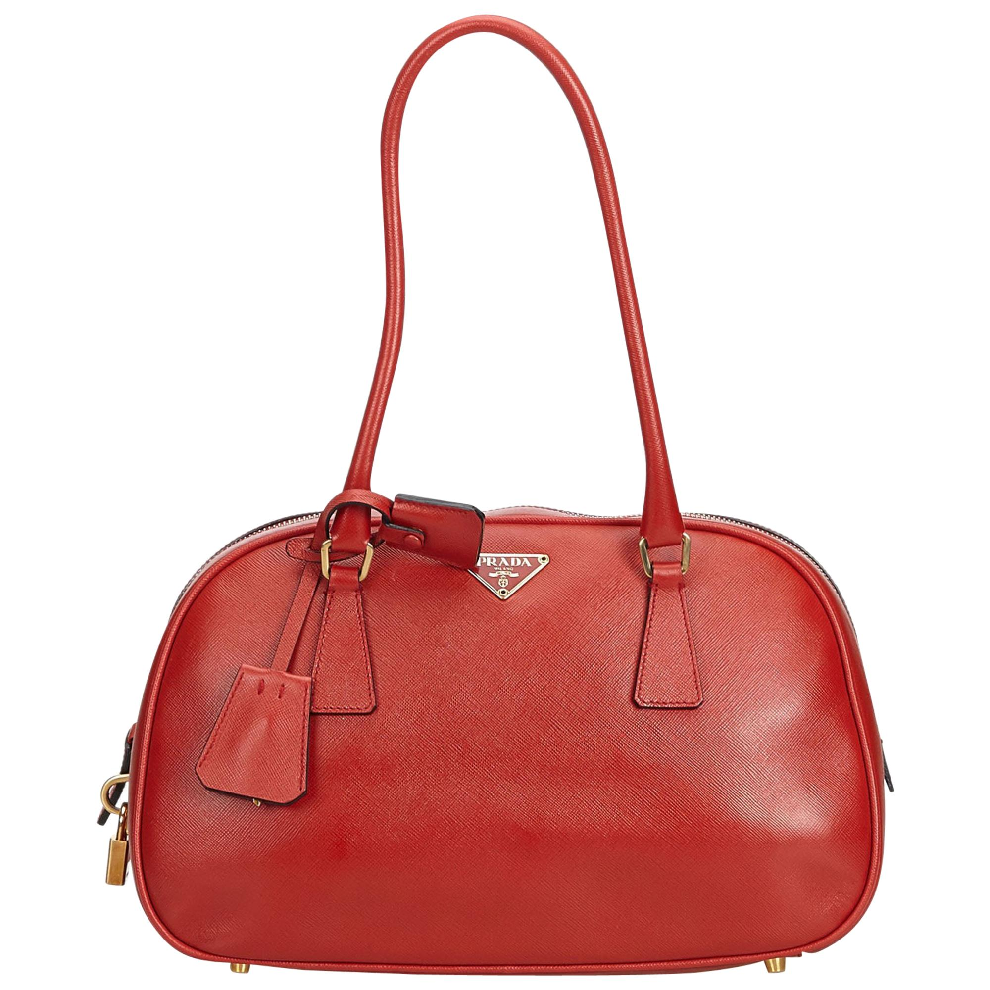 1063fd8980d9 Prada Vintage Red Leather Barrel Bag at 1stdibs