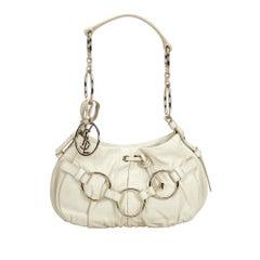 YSL White Leather Shoulder Bag