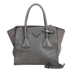 Prada Gray Leather Twin Pocket Satchel