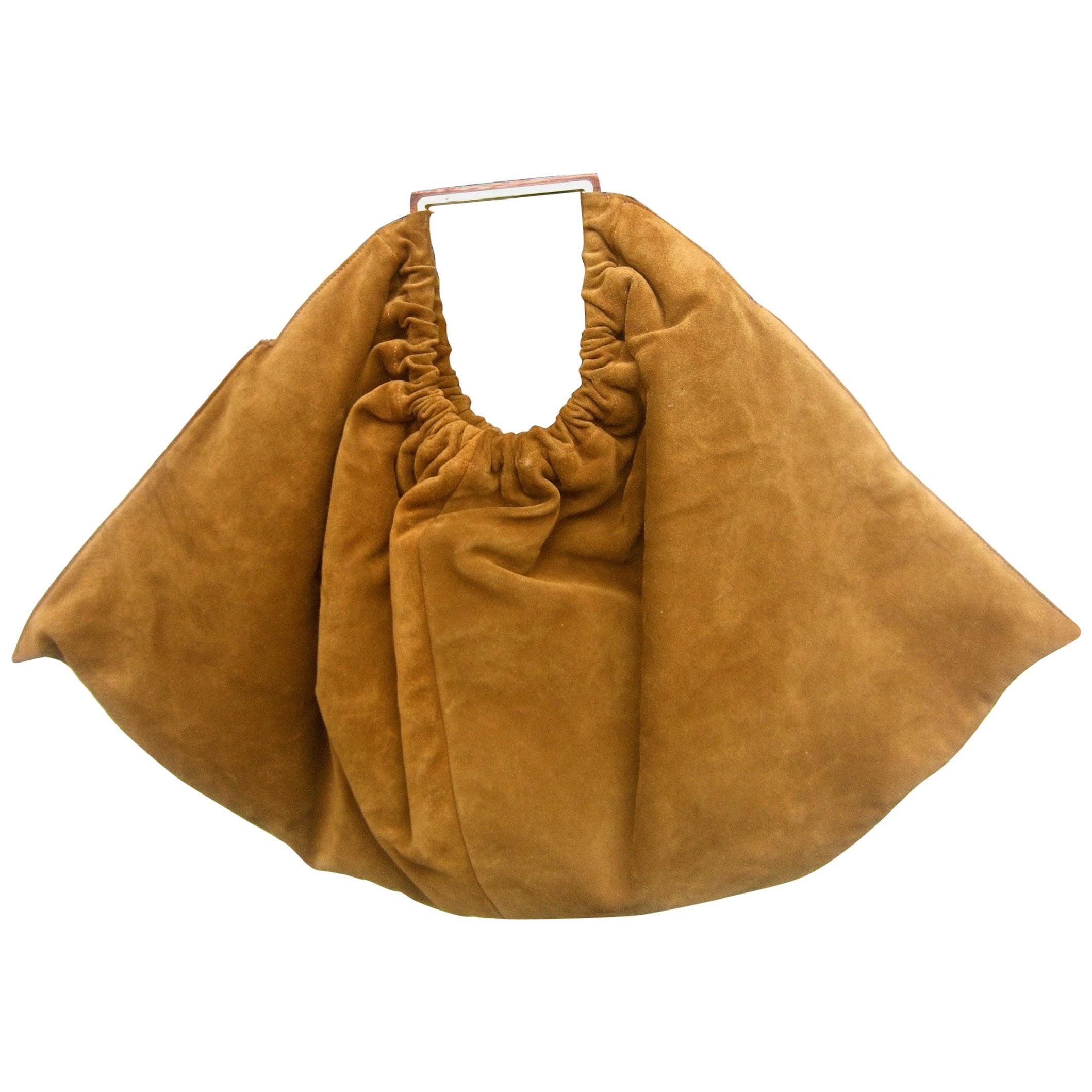 Versace Italian Brown Suede Large Scale Handbag circa 1990s