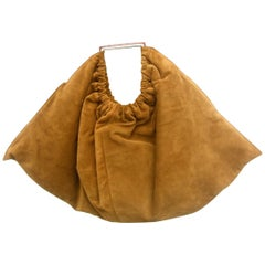 Versace Italian Brown Suede Large Scale Handbag circa 1990s
