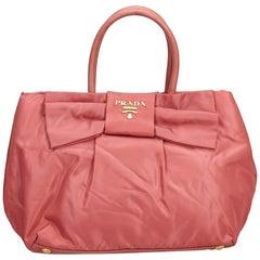 Prada Pink Tessuto Nylon Bow Handbag