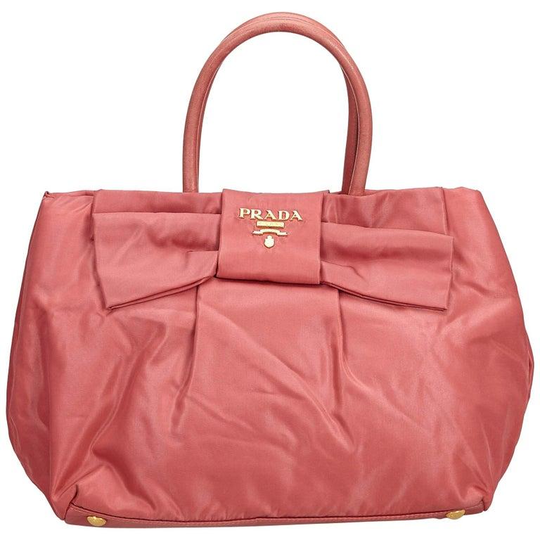 e0d8d87d8e76 Prada Pink Tessuto Nylon Bow Handbag For Sale at 1stdibs