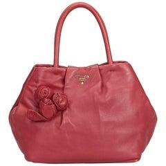 Prada Pink Leather Flower Satchel