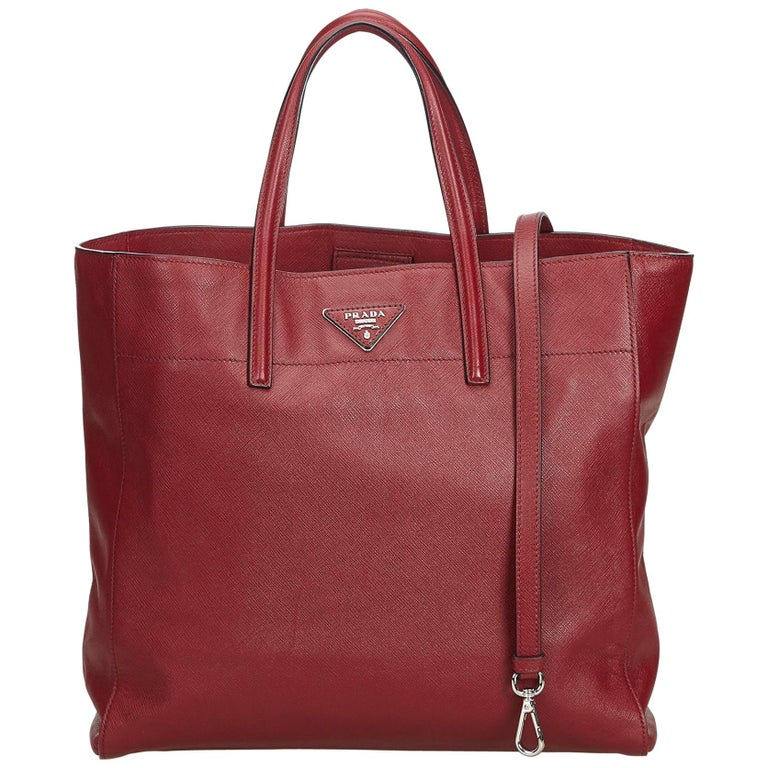 5034b762b6b2 Prada Red Saffiano Leather Soft Tote For Sale at 1stdibs