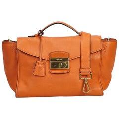 Prada Orange Leather Satchel