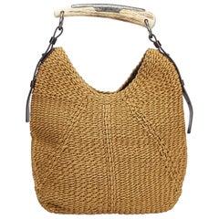 YSL Brown Raffia Mombasa Handbag