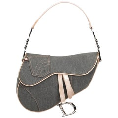 Dior Gray Denim Saddle Bag