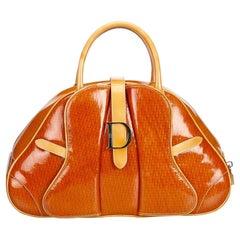 Dior Orange Patent Leather Saddle Dome Handbag