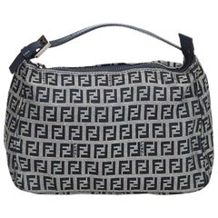 Fendi Gray Zucchino Canvas Handbag
