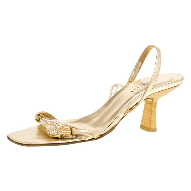 bd66489dafbe Gucci Metallic Gold Open Toe Slingback Sandals Size 36 For Sale at ...