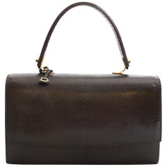 Delvaux Vintage Brown Lizard Bag