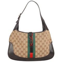 Gucci Tan Monogram Canvas Hobo Jackie O Bag with Stripes