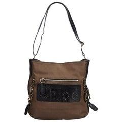 Chloe Brown Jacquard Shoulder Bag