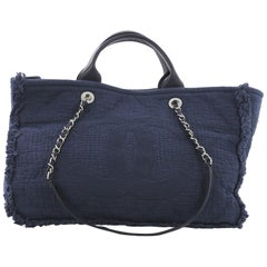 Chanel CC 2-Way Shopping Tote Fringe Quilted Canvas Large