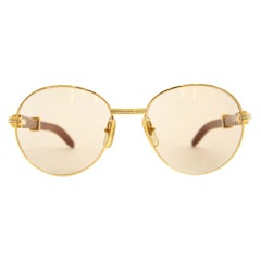 Rare Cartier Giverny Palisander Rosewood Gold Sunglasses