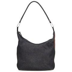 Gucci Black Web Denim Shoulder Bag