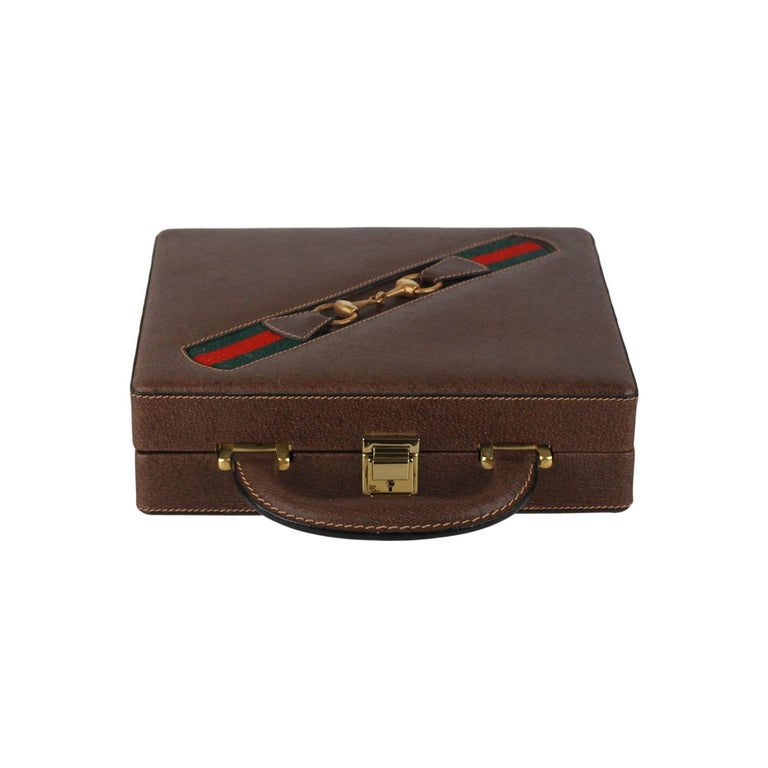 69e5ffd04678 Gucci Vintage Tan Leather Gaming Box Poker Set 2 Playing Cards Chips For  Sale