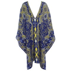Emilio Pucci Blue and Neon Yellow Patterned Jacquard Knit Poncho S