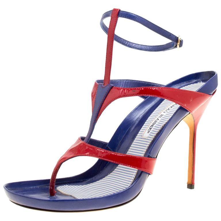d4e621e399875 Manolo Blahnik Red/Blue Leather T Strap Thong Sandals Size 40.5 For Sale