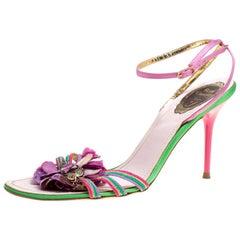 René Caovilla Satin Crystal Flower Embellished Ankle Strap Sandals Size 41