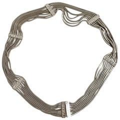 CHANEL Silver Metal Snake Mesh Belt Size 85 FR