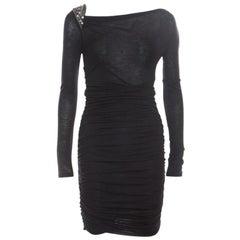 Emilio Pucci Black Knit Embellished Shoulder Detail Ruched Long Sleeve Dress S