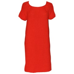 Hermes orange cashmere cotton mix knit dress