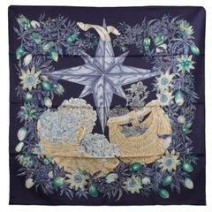 Hermes Paris Blue Silk Scarf Passiflores 1996 Valerie Dawlat-Dumoulin