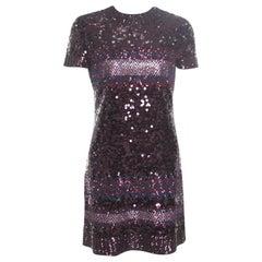 Dior Multicolor Aztec Sequin Embellished Short Sleeve Dress S