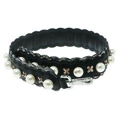 Fendi Black Pearl Embellished Leather Strap You Bag Strap