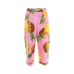 Dolce and Gabbana  Pineapple Printed Cotton High Waist Wide Leg Cropped Pants M