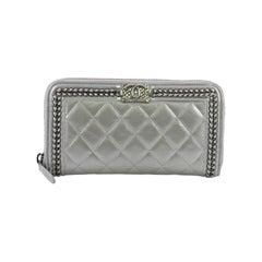 Chanel Boy Zip Jacket Wallet Quilted Calfskin Long