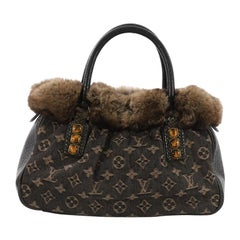 Louis Vuitton Trapeze Handbag Denim with Fur and Lizard PM