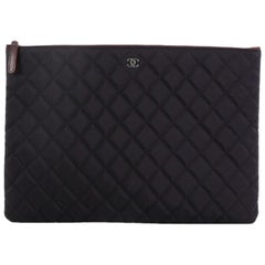 Chanel O Case Clutch Quilted Nylon Large
