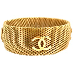 Chanel 1990s Gold Plated Weave Cuff Bracelet