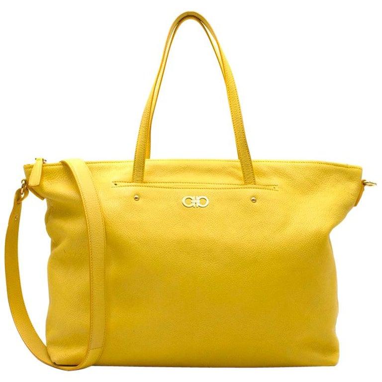 45dd2be3db61 Salvatore Ferragamo Yellow Tote Bag at 1stdibs
