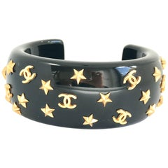 Chanel 1990s Black Resin Star Bangle Bracelet
